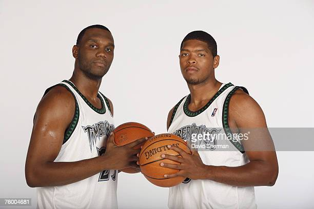 Newly acquired Minnesota Timberwolves players Al Jefferson and Ryan Gomes pose for portraits at the Target Center on August 1 2007 in Minneapolis...