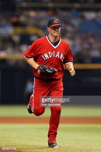 Newly acquired outfield Jay Bruce of the Indians trots off the field between innings during the MLB regular season game between the Cleveland Indians...