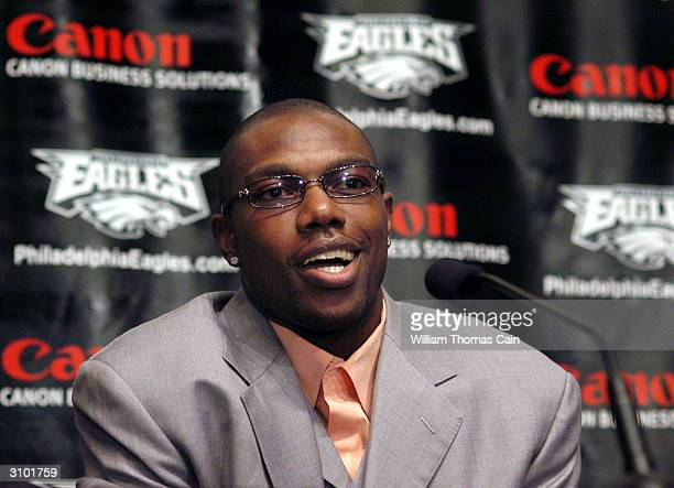 Newly acquired Philadelphia Eagles wide receiver Terrell Owens speaks with the media during a news conference March 16, 2004 in Philadelphia,...