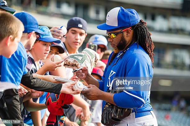 Newly acquired pitcher Johnny Cueto of the Kansas City Royals signs autographs prior to the game against the Cleveland Indians at Progressive Field...