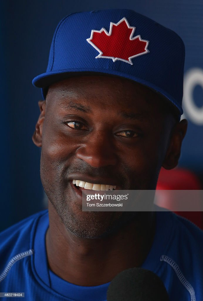 Newly acquired player LaTroy Hawkins #32 of the Toronto Blue Jays during batting practice before the start of MLB game action against the Philadelphia Phillies on July 28, 2015 at Rogers Centre in Toronto, Ontario, Canada.