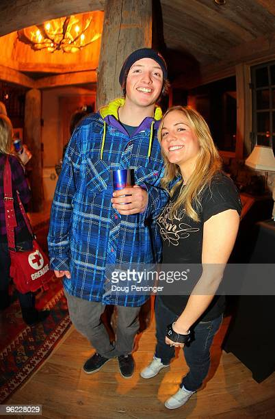 Newly annouced USA Olympic Halfpipe Snowboarders Greg Bretz and Elena Hight pose for a photo at the Oakley/Red Bull Party prior to Winter X Games 14...