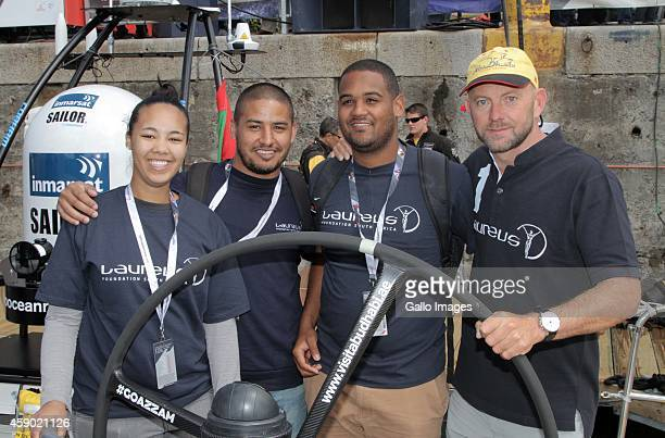 Newly announced ambassador Ian Walker showing the Laureus kids around the boat during the Laureus Abu Dhabi Ocean Racing on November 15 2014 in Cape...