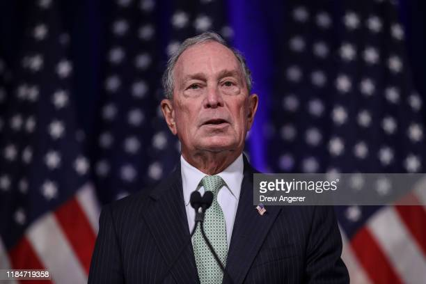 Newly announced Democratic presidential candidate former New York Mayor Michael Bloomberg speaks during a press conference to discuss his...