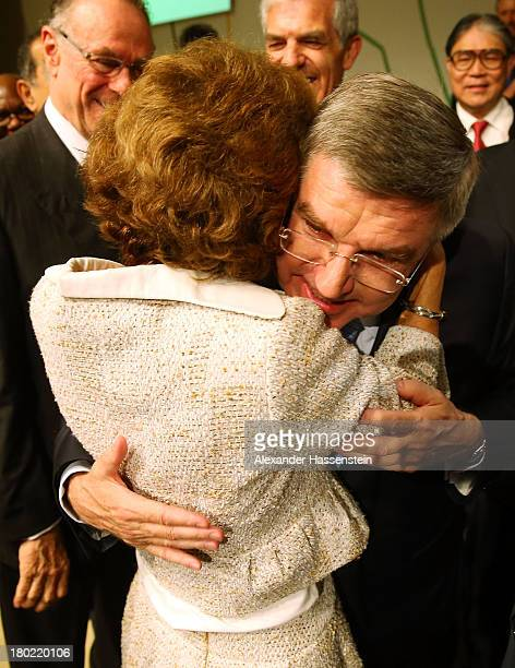 Newly announced ninth IOC President Thomas Bach embraces wife Claudia during the 125th IOC Session IOC Presidential Election at the Hilton Hotel on...
