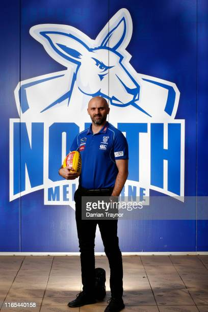 Newly announced North Melbourne Senior Coach Rhyce Shaw poses for a photo during a North Melbourne Kangaroos Media Opportunity at Arden Street Ground...