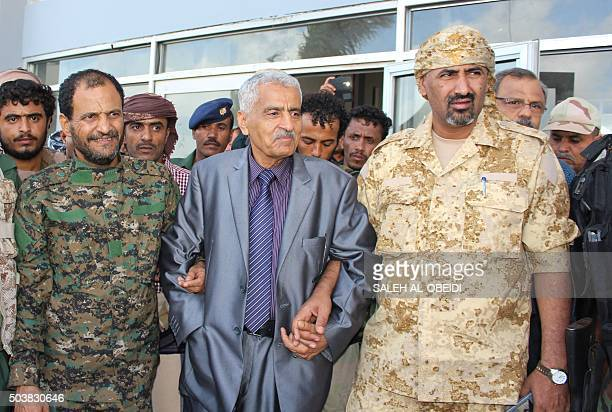 Newly appointed Aden Governor Aidarus alZubaidi Interior Minister General Hussein Arab and chief of Aden's police General Shallal Ali Shayae pose for...