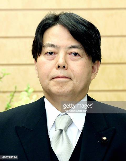Newly appointed Agriculture Minister Yoshimasa Hayashi is seen at the Prime Minister Shinzo Abe's official residence on February 23 2015 in Tokyo...