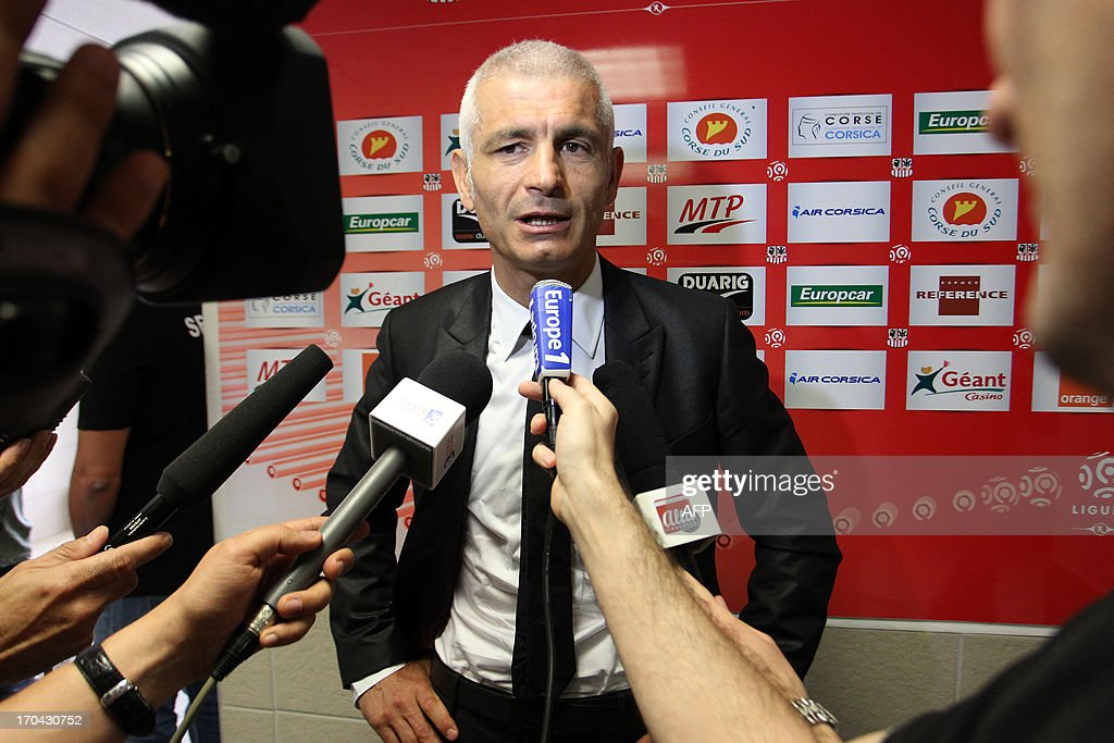 Newly appointed Ajaccio football club head coach, Italy's Fabrizio Ravanelli gives a press conference on June 13, 2013 in Ajaccio, during his official presentation.