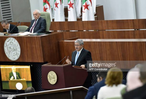 Newly appointed Algerian Prime Minister Ahmed Ouyahia presents the government's programme to the parliament on September 17 in Algiers / AFP PHOTO /...