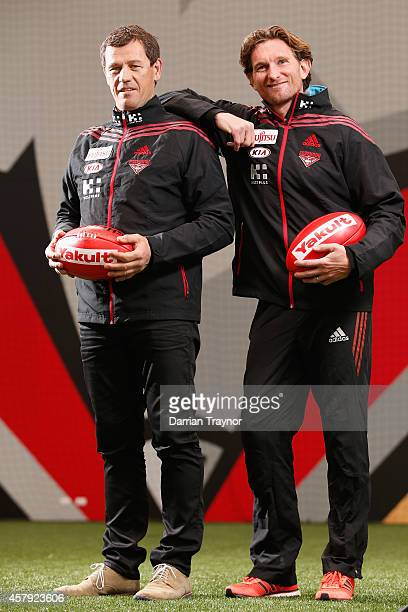 Newly appointed assistant coach Mark Harvey and Senior coach James Hird pose for a photo after an Essendon Bombers AFL press conference at True Value...