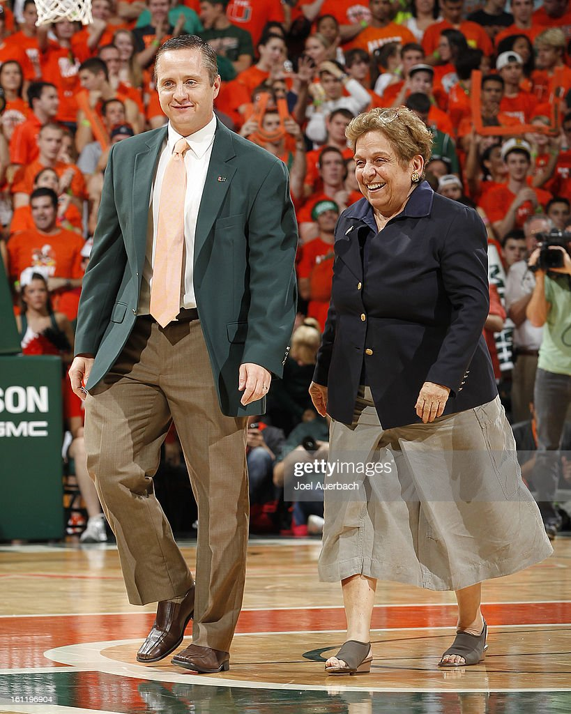 Newly appointed Athletic Director Blake James and President of the University of Miami Donna Shalala walk off the court during a break in action during the game between the Miami Hurricanes and the North Carolina Tar Heels on February 9, 2013 at the BankUnited Center in Coral Gables, Florida. Miami defeated North Carolina 87-61.