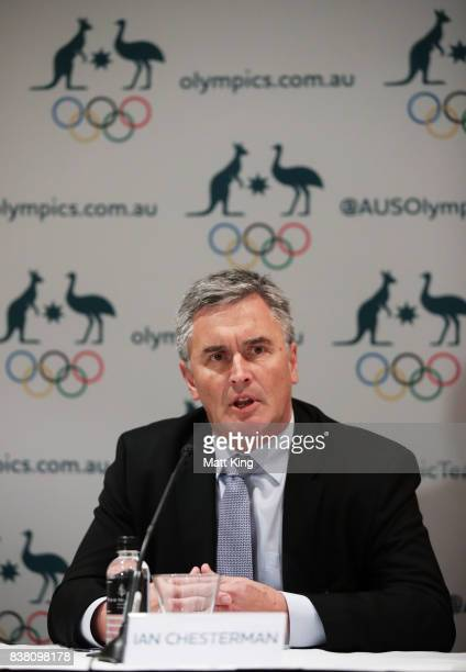 Newly appointed Australian chef de mission for the 2020 Tokyo Games Ian Chesterman speaks to the media during an Australian Olympic Committee press...