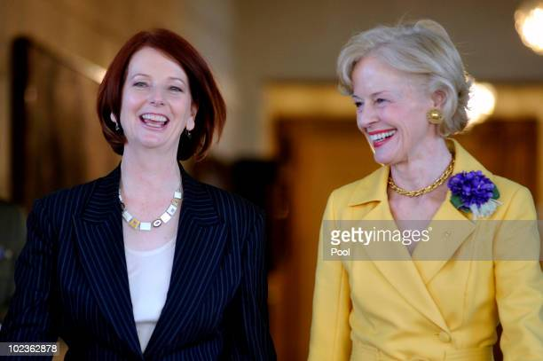 Newly appointed Australian Prime Minister Julia Gillard walks with Governor General Quentin Bryce at Government House on June 24 2010 in Canberra...