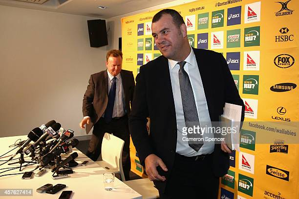 Newly appointed Australian Wallabies coach Michael Cheika and Australian Rugby CEO Bill Pulver leave an Australian Wallabies press conference at ARU...