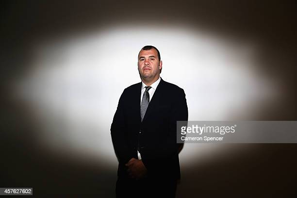 Newly appointed Australian Wallabies coach Michael Cheika poses during an Australian Wallabies press conference at ARU Headquarters on October 22...