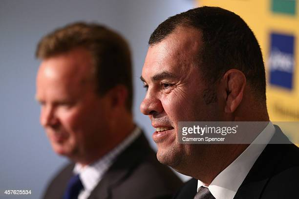Newly appointed Australian Wallabies coach Michael Cheika speaks to the media during an Australian Wallabies press conference at ARU Headquarters on...