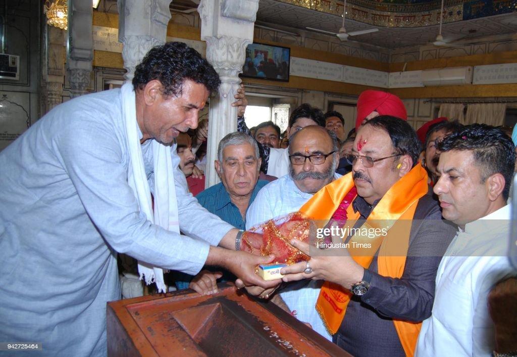 Newly appointed Bharatiya Janata Party Punjab president and Rajya Sabha MP Shwait Malik pays obeisance at Durgiana Temple on April 6 2018 in Amritsar.