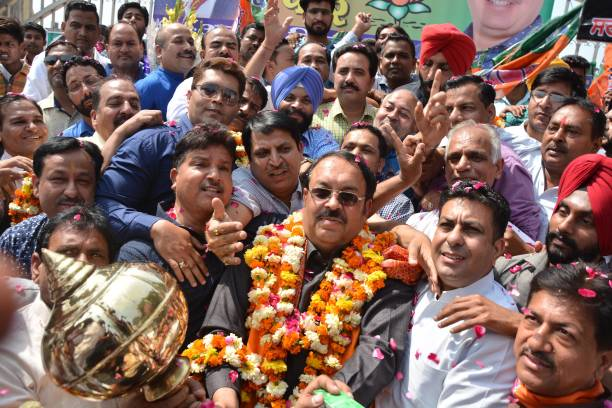 Newly appointed Bharatiya Janata Party Punjab president and Rajya Sabha MP Shwait Malik being welcomed by party leaders and workers on his arrival at.