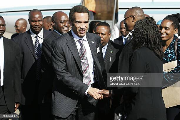 Newly appointed Botswana President Ian Khama arrives on April 12 2008 at Lusaka International airport to attend a Southern African Development...