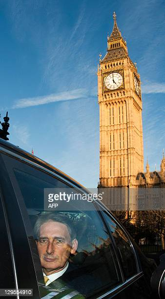 Newly appointed British Defence Secretary Philip Hammond leaves the Houses of Parliament in London on October 18 2011 Philip Hammond was named...
