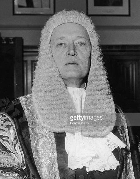 Newly appointed British Lord Chancellor Gerald Austin Gardiner Baron Gardiner of Kittisford in his office at the House of Lords London 20th October...