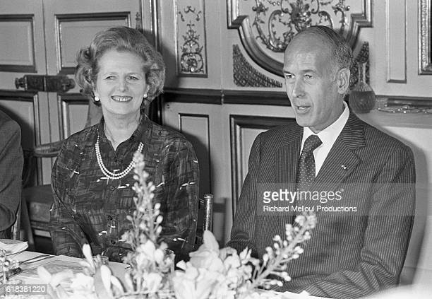 Newly appointed British Prime Minister Margaret Thatcher attends a formal reception at the Palais de l'Elysee with French President Valery Giscard...