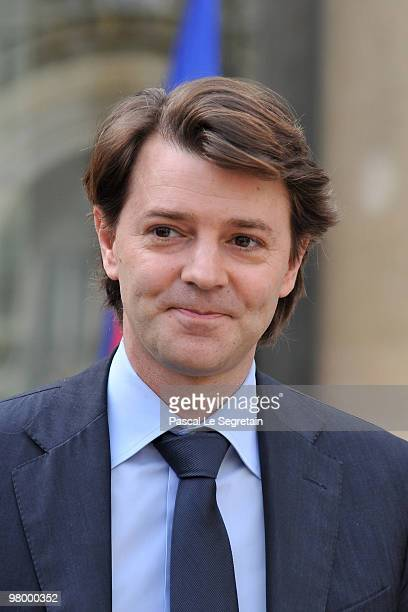 Newly appointed Budget minister Francois Baroin leave the Elysee palace after attending the weekly cabinet meeting at Elysee Palace on March 24, 2010...