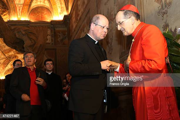 Newly appointed cardinal Beniamino Stella greets visitors in the Apostolic Palace during the courtesy visits in the Apostolic Palace on February 22...