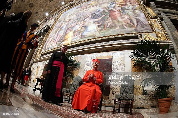 Newly appointed cardinal French Archbishop Dominique Mamberti attends the courtesy visits in the Apostolic Palace on February 14 2015 in Vatican City...