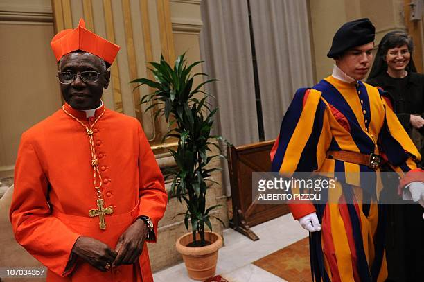 Newly appointed cardinal, Guinean Robert Sarah greets visitors during the traditionnal courtesy visit after the consistory on November 20, 2010 at...