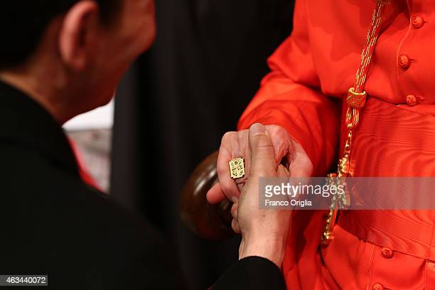 Newly appointed cardinal Italian Archbishop Luigi De Magistris attends the courtesy visits in the Apostolic Palace on February 14 2015 in Vatican...
