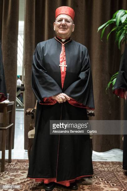 Newly Appointed Cardinal Louis Raphael I Sako of Iraq poses following a consistory ceremony lead by Pope Francis to create 14 new cardinals at St...