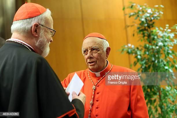 Newly appointed cardinal Mexican Archbishop Alberto Suarez Inda receives congratulations from Archbishop of Boston Cardinal Sean Patrick O'Malley...