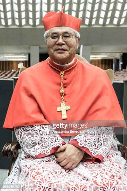 Newly appointed Cardinal Thomas Aquino Manyo Maeda of Japan Poses following a consistory ceremony lead by Pope Francis to create 14 new cardinals at...