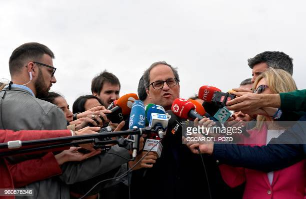 Newly appointed Catalan president Quim Torra speaks to the press after a visit to jailed Catalan separatist politicians at the Estremera jail near...