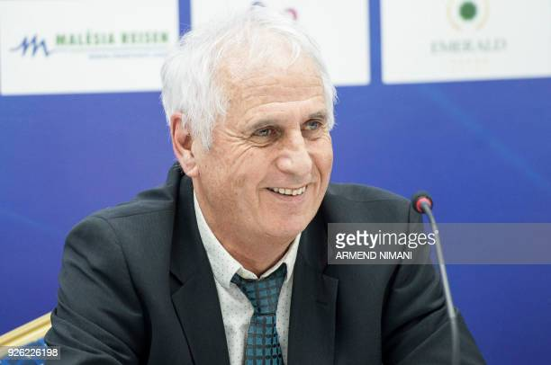 Newly appointed coach of Kosovo's national soccer team Bernard Challandes speaks during a press conference on March 2 2018 in Pristina / AFP PHOTO /...