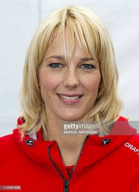 Newly appointed Coach of the Netherland's Speed Skating team Liga Marianne Timmer smiles at the press conference in Almere on May 19 2011 AFP PHOTO /...