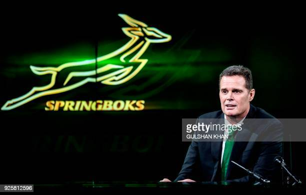 "Newly appointed coach of the South African National rugby union team - The Springboks - Johan ""Rassie"" Erasmus gestures as he speaks at The..."