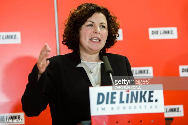 """Newly appointed co-chairman of the parliamentary group of German left-wing """"Die Linke"""" party Amira Mohamed Ali gives a speech during a parliamentary..."""