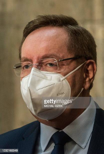 Newly appointed Czech Health Minister Petr Arenberger speaks to the media during his inauguration to the new office on April 7, 2020 in Prague. - The...