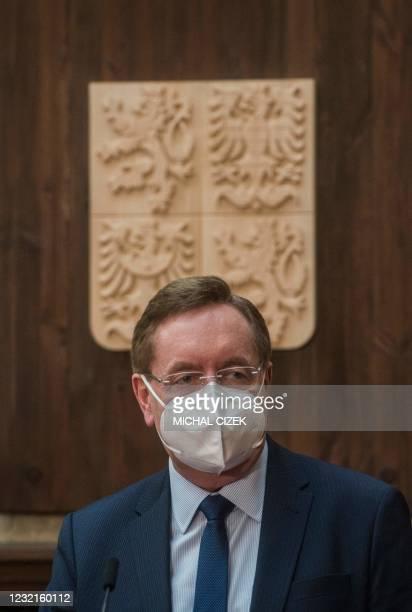 Newly appointed Czech Health Minister Petr Arenberger talks to the media during his inauguration to the new office on April 7, 2020 in Prague. - The...
