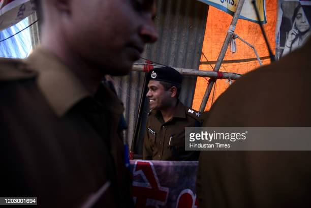 Newly appointed Deputy Commissioner of Police Rajendra Prasad Meena arrives at the protest site to introduce himself, in Shaheen Bagh on February 24,...