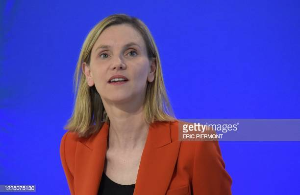 Newly appointed deputy Minister for Industry Agnes Pannier-Runacher looks on during the handover ceremony at the French Economy and Finance Ministry...