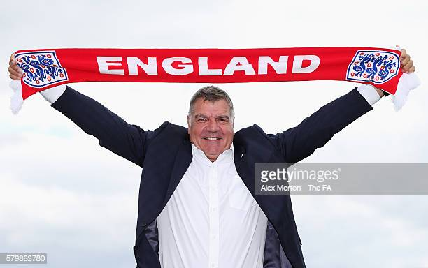 Newly appointed England manager Sam Allardyce poses after a press conference at St. George's Park on July 25, 2016 in Burton-upon-Trent, England.