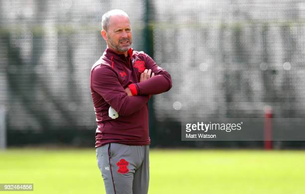 Newly appointed first team assistant manager Mark Bowen during a Southampton FC training session at the Staplewood Campus on March 15 2018 in...