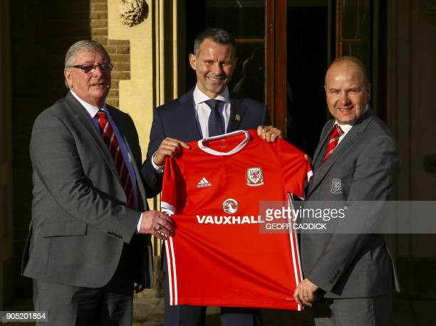 Newly appointed football manager of Wales, Ryan Giggs , President of the Football Association Wales, David Griffiths and Chief Executive of the...