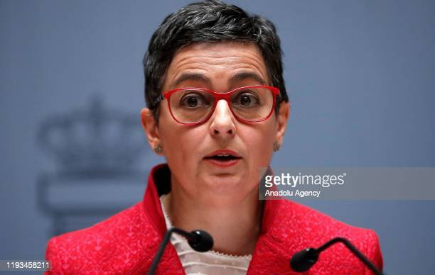 Newly appointed Foreign Minister of Spain Arancha Gonzalez Laya makes a speech after receiving the portfolio from Newly appointed Defence Minister of...