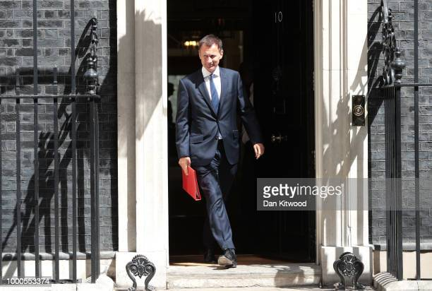 Home Secretary Sajid Javid leaves Downing Street on July 17 2018 in London England MPs vote on the trade bill in Parliament today which partners the...