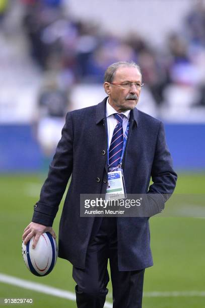 Newly appointed France Head Coach Jacques Brunel reacts during warmup before the NatWest Six Nations match between France and Ireland at Stade de...